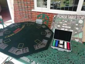 8 person poker table top, two sets of cards, full set of chips.