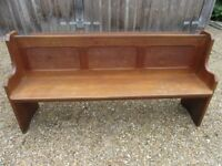 OLD OAK CHURCH PEW. Delivery possible. PINE BENCHES, SETTLES & CHAPEL CHAIRS ALSO FOR SALE.