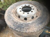 Lorry rims with tyres