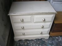 SOLID PINE PAINTED SMALL CHEST OF DRAWERS. ORNATE. VERSATILE LOCATION. VIEWING/DELIVERY AVAILABLE