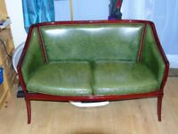 Vintage Green Faux Leather 2 Seater Salon Settees Loveseats Sofa