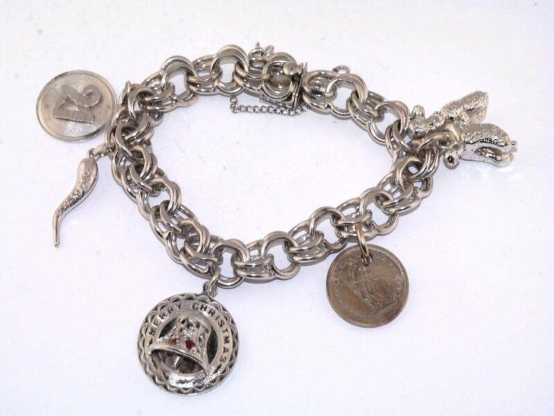 vintage sterling silver charm bracelet ebay