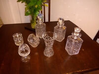 Crystal Decanters (3), Vase, etc.