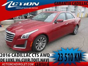2016 CADILLAC CTS SEDAN AWD LUXURY V6,CUIR,TOIT,NAVI