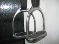 Horse Riding Equipment - Stirrups and black stirrup leathers
