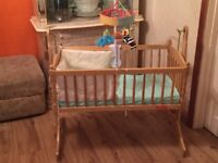 Little angels pine wood swinging crib with musical cot mobile