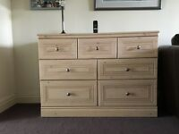 7 Drawer Chest + 2 Bedside Cabinets Matching In Oyster Bay Finish