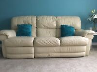 Cream leather sofa