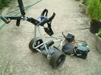 Powercaddy golf trolley with battery, charger and waterproof bag and trolley cover