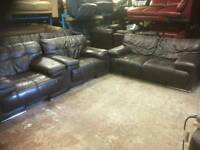 Vilano Brown leather 2 seater sofa and 2 chairs