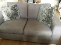 Two seater sofa plus chair and footstool