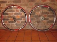 Pair complete Rodi 4 Airline road race wheelset wheels 700c multicolour tyres tubes quick release