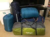 Vango 4 persons tent, a two-person sleeping bag and two single person sleeping bags, one mat