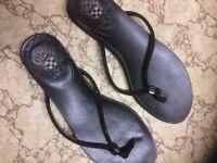 Black beaded Flip flops