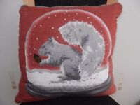 Next Squirrel Snowglobe Cushion Brand New