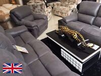 FABRIC UPHOLSTERED RECLINING SUITE - 3 SEATER & 2 SEATER - IN CHARCOAL - DELIVERED NATIONWIDE