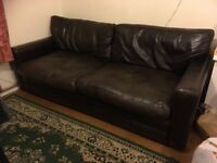 Brown leather sofa NEED GONE BY SUNDAY 9am latest