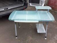 Glass and metal computer desk/table