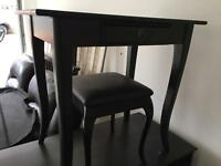 Black dressing table with chair