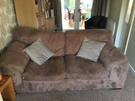 Brown cord 2 seater bed sofa + 2seater sofa and 1 foot stool