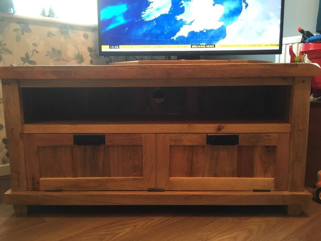 Modern tv unit solid oak large