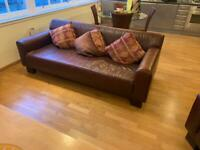 Brown leather sofa & 2 leather chairs