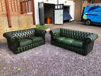 Lovely Set - Parliament Green Leather Chesterfield 3-Seater & 2-Seater Sofas