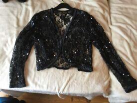 Black lace sequin bolero size 14