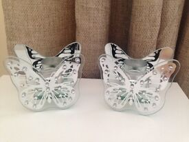 Pair of mirrored butterfly candle holders