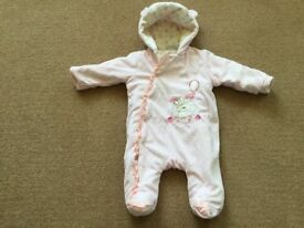 Winter Warm, 0-3 month baby pram suit - £10