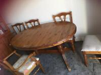 Large table and 5 chairs