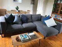Ikea corner sofa NOCKEBY with chaise longue dark grey