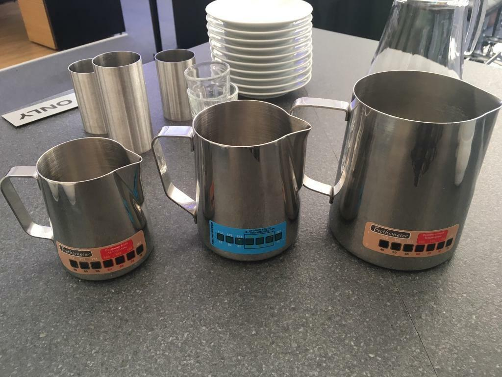 3 x coffee thermometer temperature milk froth jugs