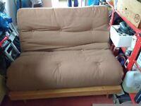 Brown double futon pine frame