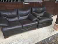 Leather two seater and recliner