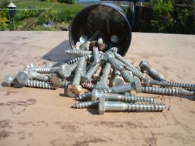 "COACH BOLTS. APPROXIMATELY 50 IN TOTAL. 1.5"" - 3"""