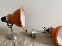 Two Anglepoise wall lamps with bulbs and spare