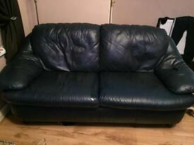 2 and 3 seater Navy real leather settees
