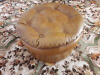 1970's Style Light Brown or Mustard colour Leatherette Poufe