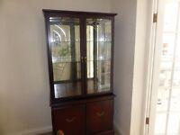 Irish dark wood display cabinet. Quality Coyle furniture.