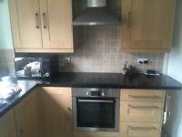 Kitchen Cupboards, granite worktops, sink, taps, bosch oven and extractor fan