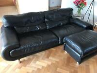 Large Black Leather Sofa £229 plus Pouffe