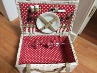 Unused Picnic Basket with tableware for 2