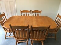 Double Pedestal Extension Table & 6 Chairs in Alder Hardwood
