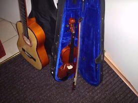 guitar and a half size violin cud deliver
