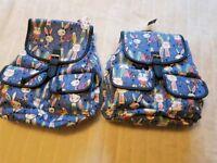 2 girls cute bunny backpacks