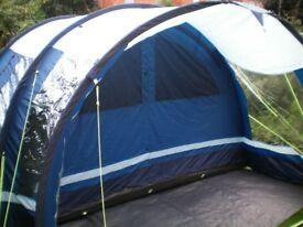 Four person Kampa Fistral 4 tent, c/w inner compartment,footprint groundsheet,complete, little used.
