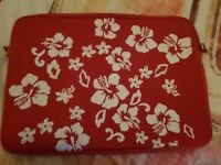FREE White Floral red laptop case