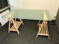 Ikea Glass Desk With Wooden Trestle Legs