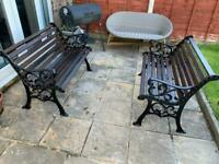 Vintage cast iron and wood garden bench's